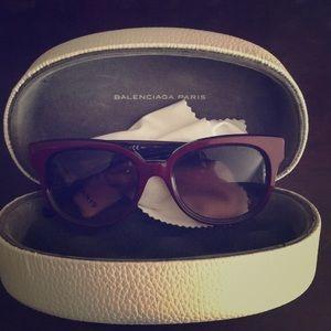 Burgundy Balenciaga Sunglasses